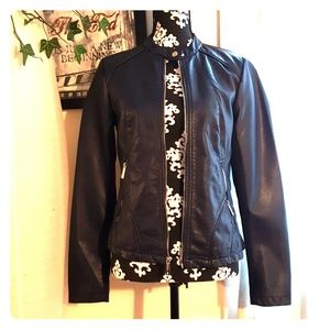 Navy blue leather jacket